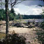 Distress Dam on the Big East River system, Muskoka, Ontario, 1949.