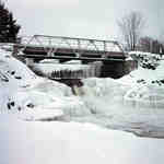 Bridge over Marsh's Fall, on the Oxtongue River, Lake of Bays, Ontario. Winter 1951
