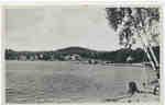 Dwight beach taken from the bay, Lake of Bays, Muskoka, Ontario, 1950s.