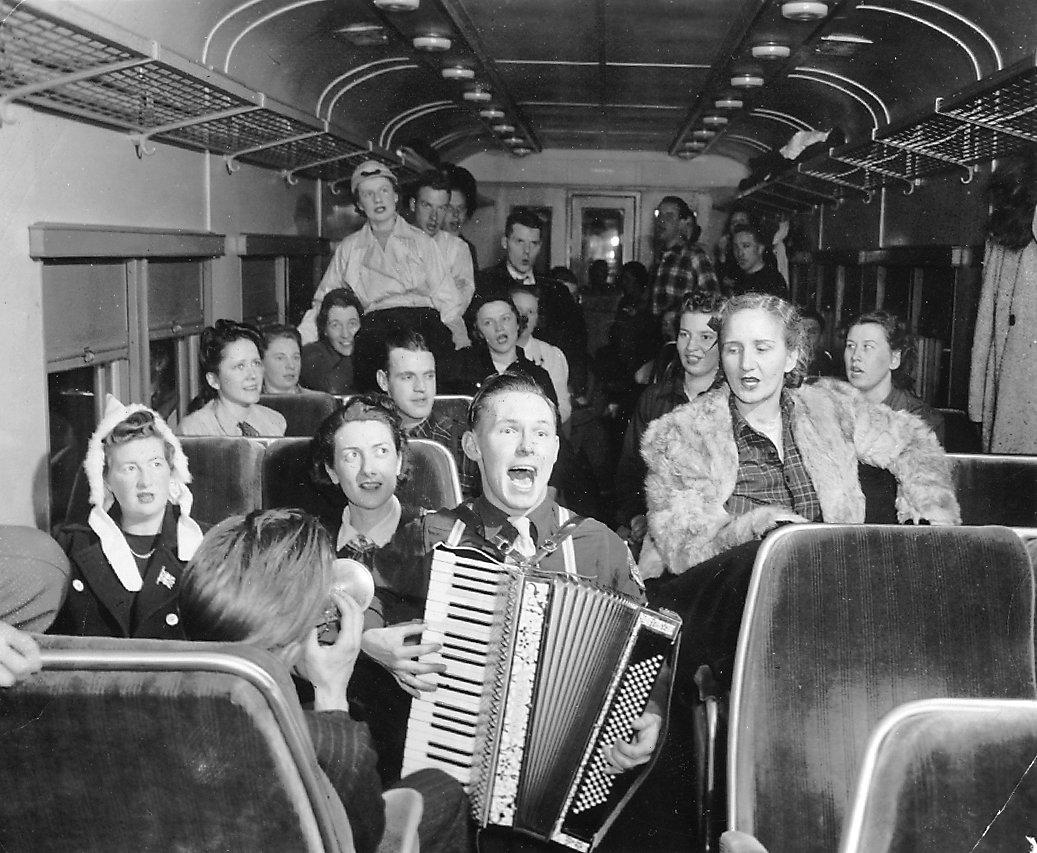 Ski train to Huntsville, Ontario, 1930s.