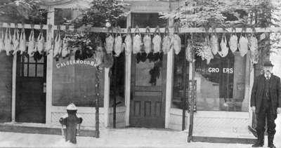 Calderwood Bros. Grocers, Main Street, Huntsville, Ontario.