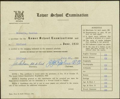 Gordon Maracle's Lower School Examination Results