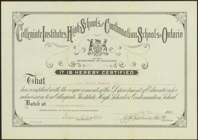 Gordon Maracle's Certificate for Acceptance to High School