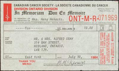 Cancer Society Donation Receipt