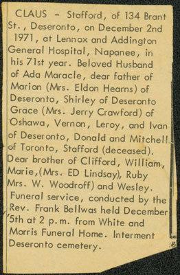 Stafford Claus' Obituary