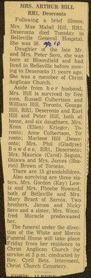 Mrs. Arthur Hill Obituary