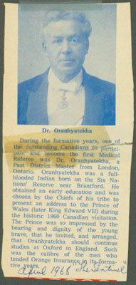 Dr. Oranhyatekha (Oronhyatekha Obituary)