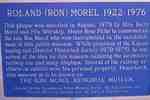 Plaque honouring Roland (Ron) Morel 1922-1976Kapuskasing Museum