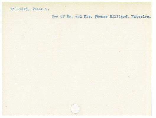 Hilliard, Frank T.