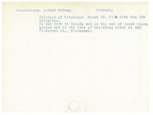 Rosenberger, Arthur Milroy