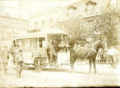 Horse drawn street railway car