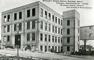 Merchants Rubber Company factory building under construction
