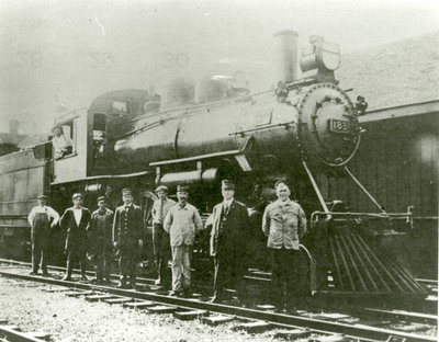 Canadian Pacific Railway locomotive and crew at Elora, Ontario