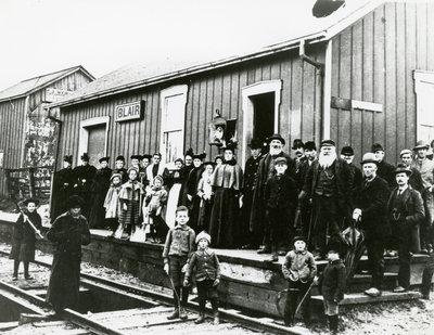 Crowd gathered at Blair train station