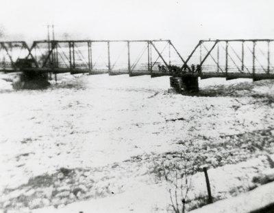 Group of people gathered on the Blair Bridge