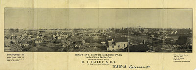 Bird's eye view of Melrose Park, Berlin, Ontario, showing Breithaupt and Wellington Streets