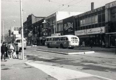 Kitchener Public Utilities trolley buses on King Street West, Kitchener