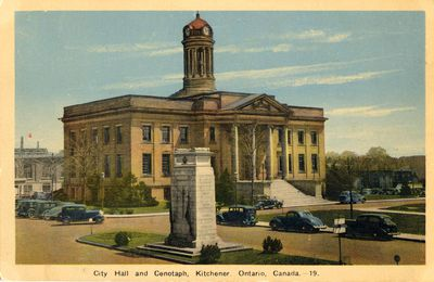 City hall and cenotaph, Kitchener, Ontario, Canada