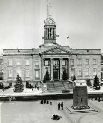 Kitchener City Hall with Christmas decorations