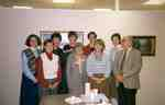 Staff of the Kitchener Public Library and Grace Schmidt celebrating the first anniversary of the Grace Schmidt Room of Local History