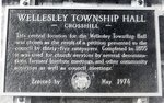 Wellesley Township Hall plaque