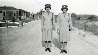 Two unidentified members of the Canadian Women's Army Corps