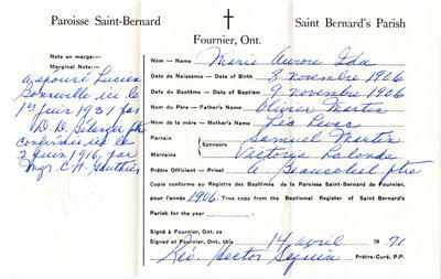 Certificat de naissance et de mariage