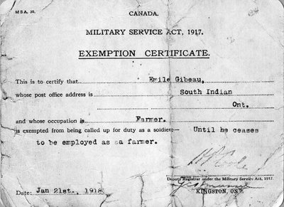 Canada, Military Service Act, 1917 Exemption Certificat
