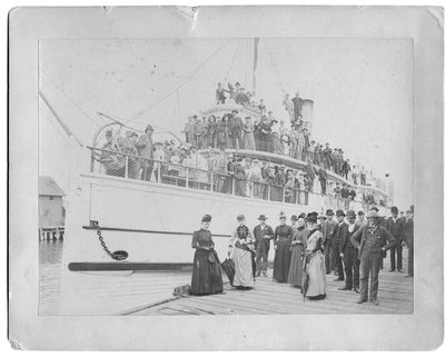 Unidentified group of pleasure seekers on board the steamboat Carmona, Mackinac Island, Michigan
