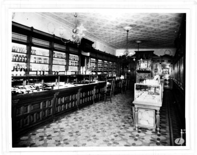Cairncross and Lawrence Drug Store, interior view, London, Ontario