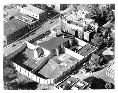 Aerial view of Court House and Jail, London, Ontario: Ivey Family