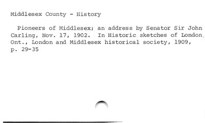 Middlesex County - History