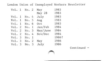 London Union of Unemployed Workers Newsletter.