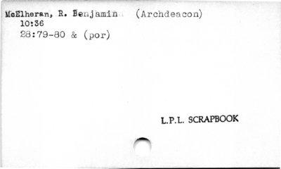 McElheran, R. Benjamin (Archdeacon).