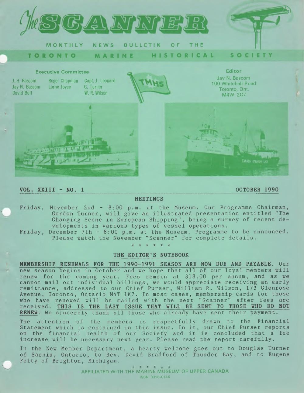 Scanner, v. 23, no. 1 (October 1990)