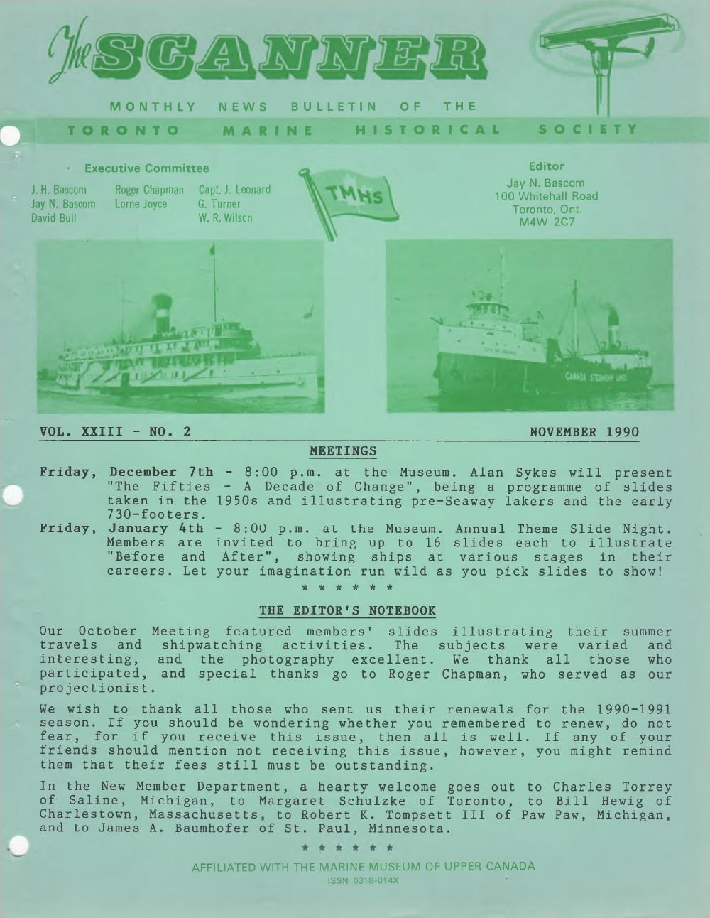 Scanner, v. 23, no. 2 (November 1990)