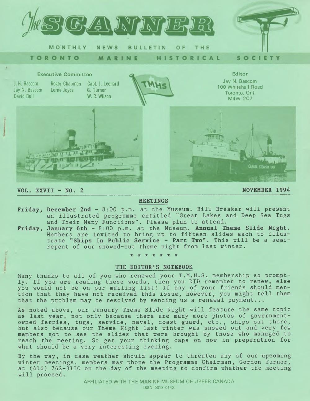 Scanner, v. 27, no. 2 (November 1994)