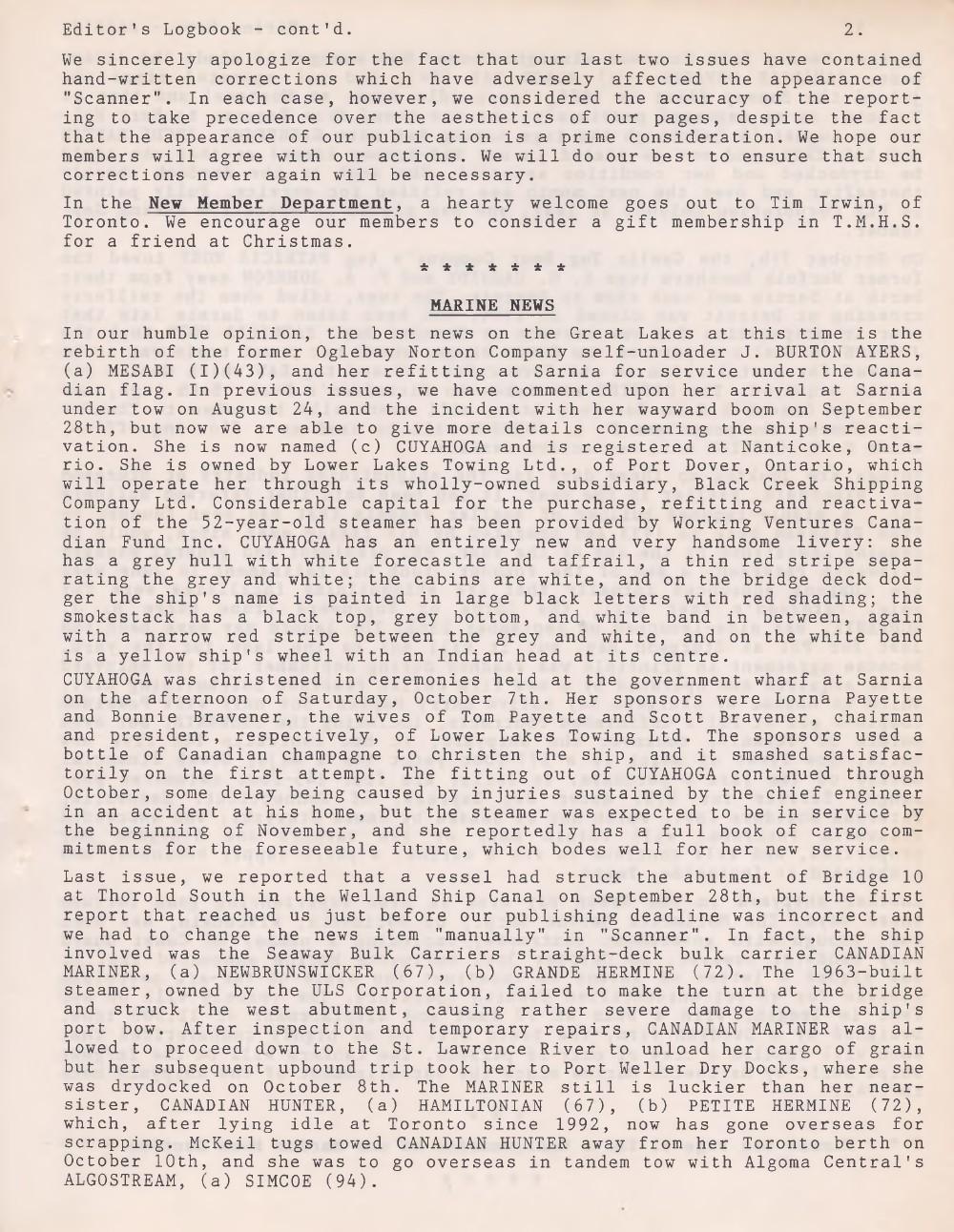 Scanner, v. 28, no. 2 (November 1995)