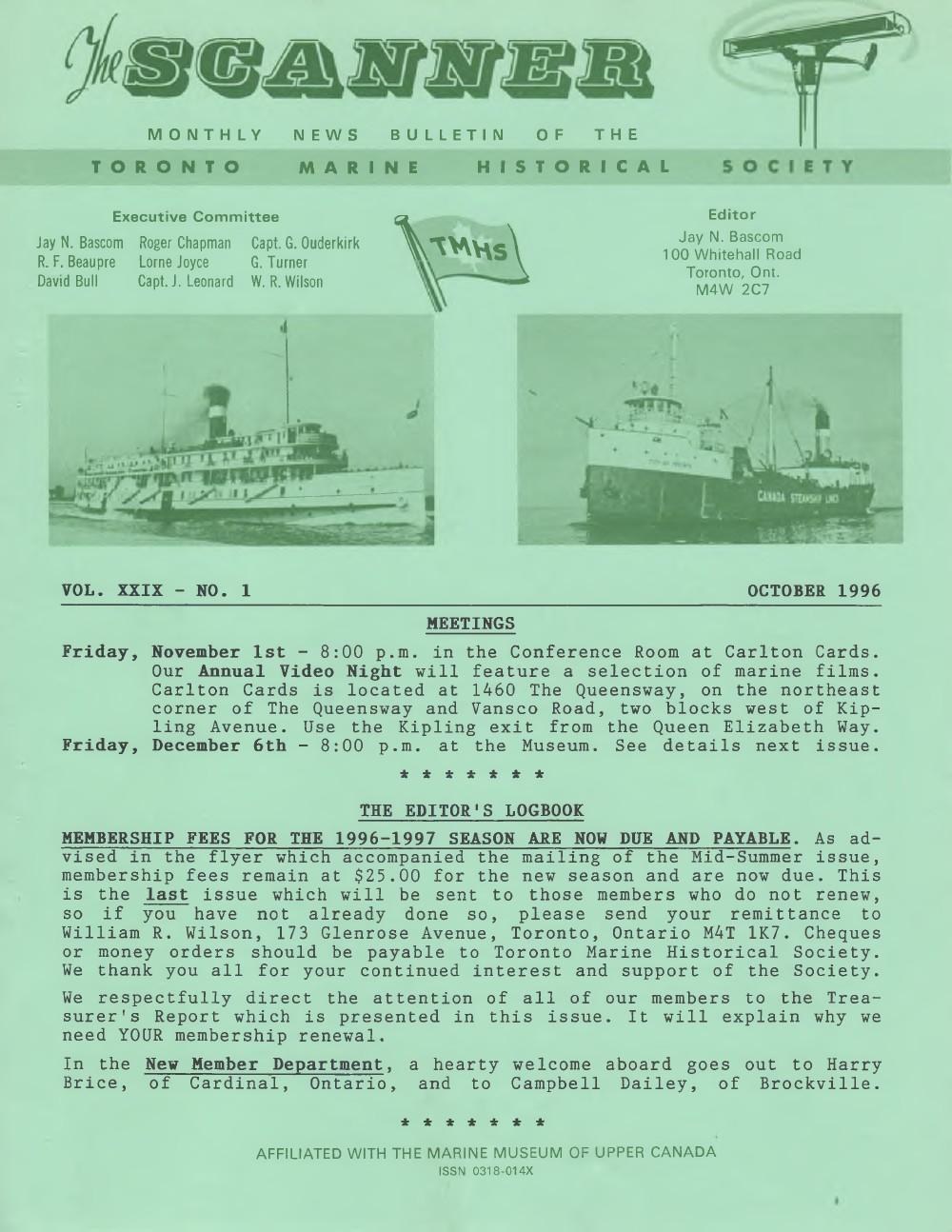 Scanner, v. 29, no. 1 (October 1996)