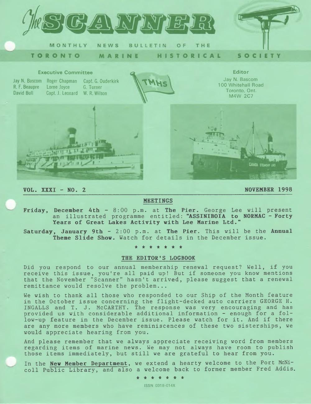 Scanner, v. 31, no. 2 (November 1998)