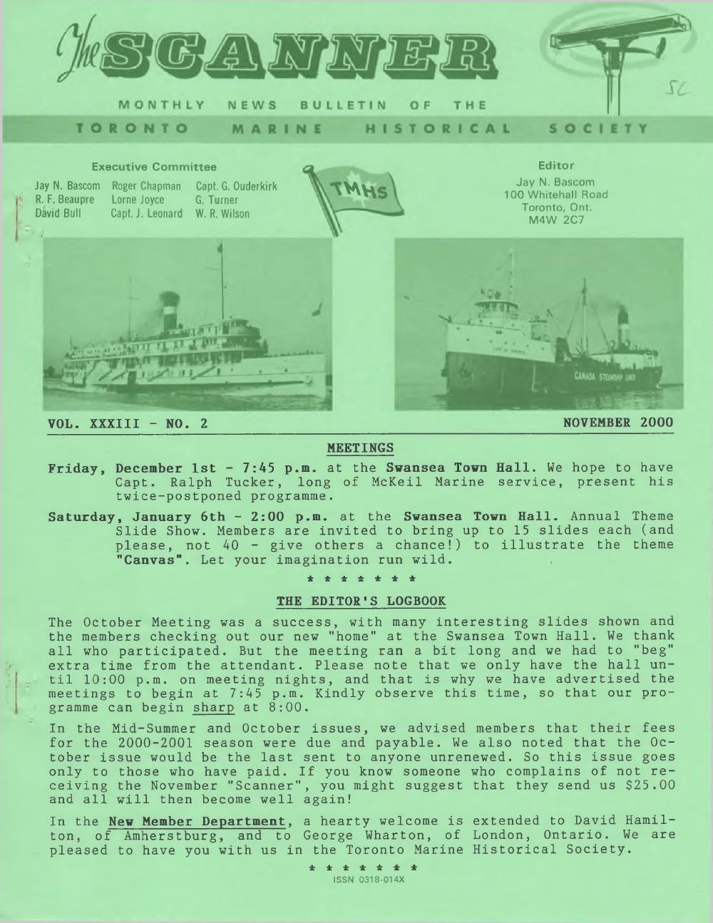 Scanner, v. 33, no. 2 (November 2000)