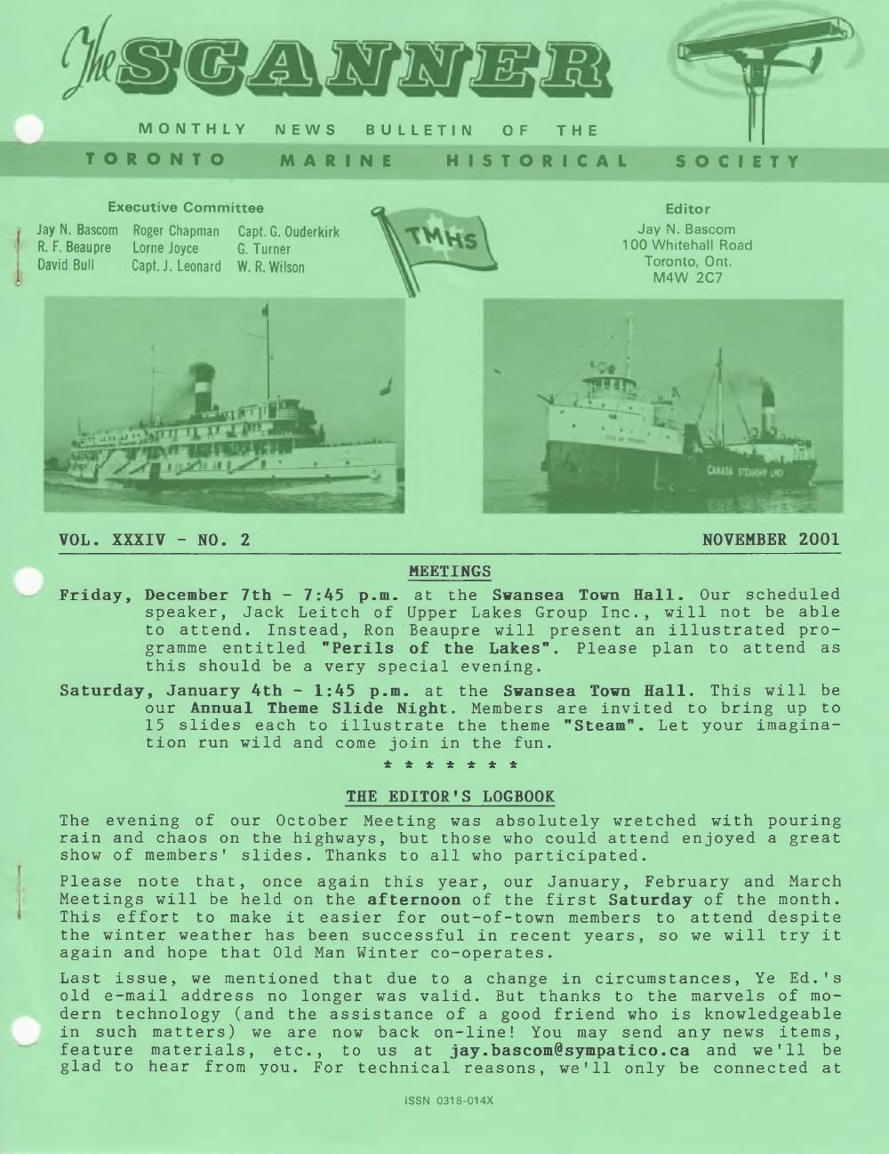 Scanner, v. 34, no. 2 (November 2001)