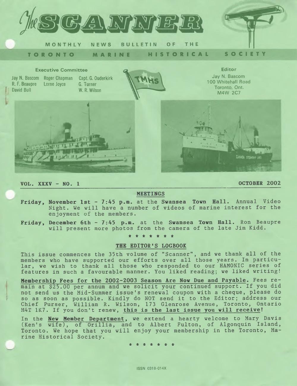 Scanner, v. 35, no. 1 (October 2002)