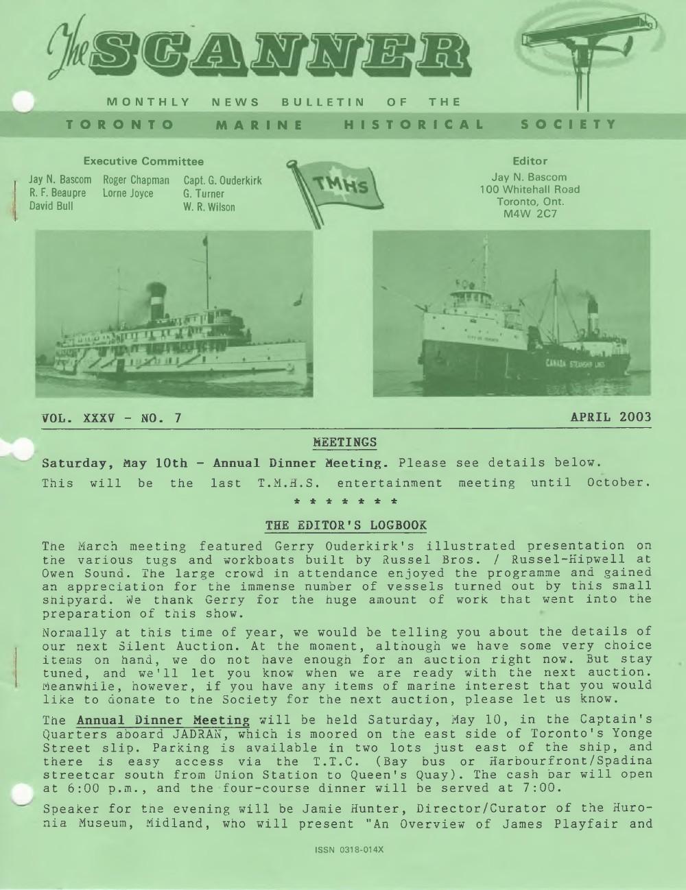 Scanner, v. 35, no. 7 (April 2003)