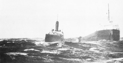 Off Anticosti Island, the bow and stern sections  of MICHIPICOTEN separate