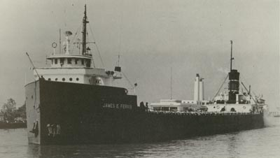 The camera of Alan W. Sweigert caught JAMES E. FERRIS entering Cleveland harbour late in her lifetime.