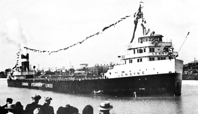 "LEMOYNE at the ceremonial ""opening"" of the fourth Welland Canal"