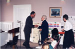 Milton Historical Awards.  MPP Ted Chudleigh greeting Laura B. Dixon, winner of the 1997 Writing Award.