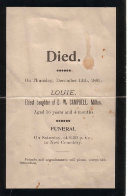 Funeral Card for Louie, eldest daughter of D. W. Campbell, Milton