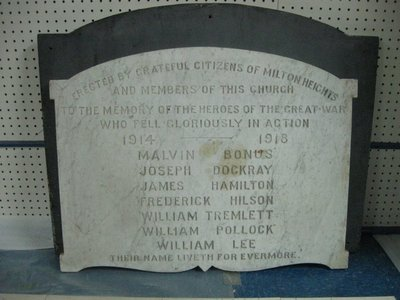 Honour Roll, All Saints Church, Milton Heights